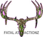 Pink Camo Deer Skull S9 Vinyl Sticker Decal Hunting Buck trophy whitetail bow