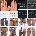 Boho Retro Silver Women Turquoise Antlers Stacking Knuckle Ring Set Jewelry Gift