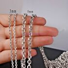 CHARM SILVER 316L STAINLESS STEEL 2/3/4/5MM OVAL LINK CHAIN MEN'S COOL NECKLACE