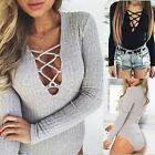 Women Fashion Sexy Long Sleeve Top Deep V Lace-up Ribbed Jumpsuits Bodysuit