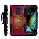 For LG K Phone Series Rugged Armor Holster Clip Case Hybrid Space Stars Galaxy
