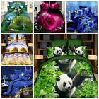 4Pc 3D Brushed Printed Duvet / Quilt Cover Bedding Set Queen Size + Pillow Cases