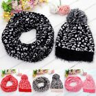 Womens Winter Warm Knitted Slouch Bobble Pom Hat Beanie Warm Scarf Set 6 Colors