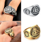 MENDINO Men's Stainless Steel Ring Illuminati The All-seeing-eye Pyramid Symbol