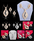 New Coming Ear Stud Crystal Necklace Luxury Jewelry Set 18K Gold Plated Drop Hot