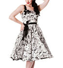 HELL BUNNY Rockabilly Dress TATTOO FLOCK 50s WHITE Swallows All Sizes