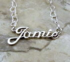 Sterling Silver Name Necklace -JAMIE -on Heart Chain Your Choice Length-1102