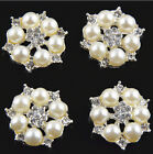 25mm Shiny metal rhinestone button crystal button Flat DIY buttons silver plated