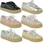 Girls Kids Flat Lace Up Canvas Pumps Espadrilles Plimsoles Trainers Skaters Size
