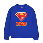 DC Comics Superman Super Dad Logo Licensed NWT Adult Crew Sweatshirt - Blue