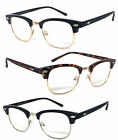 Vintage Horned Rim Half Frame Semi Rimless Clubmaster Clear Lens Reading Glasses
