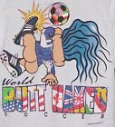 Vintage 1993 BUTT NAKED Troll World SOCCER T-Shirt GRAY NWT NEW Old Stock