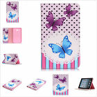 Purple Blue Butterfly PU Leather Stand Cards Slot Cover Case For Various Tablets