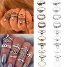 10Pcs Set Women Boho Vintage Beach Turquoise Arrow Moon Midi Rings Hippie Retro
