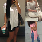 New Sexy Women Short Sleeve High Split Side Long Tops Casual T Shirt Blouse AS