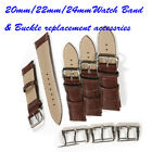 1Pc 20/22/24mm Mock Croc Leather Watch Strap Band Mens Padded & 1Pc Buckle Set