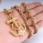 New Jesus Anchor Wheel Mens Chain Gold Tone Stainless Steel Pendant Necklace