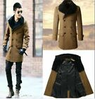 NEW Men's Luxury Fur Collar Double Jugged Camel Long Loose Trench Warm Jackets