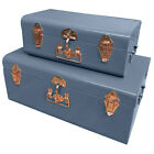 Set Of 2 Metal Storage Trunks Large Luggage Blanket Toy Box Chests With Lid New