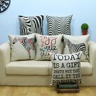 Words Stripe Cotton Linen Throw Pillow Case Cushion Cover Home Decor