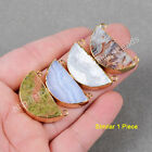 1Pcs Half Moon Multi-Kind Stone Agate Chalcedony Gold Plated Connector HG0704