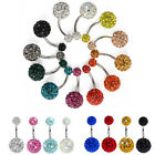 1pc Punk Navel Belly Button Ring Barbell Rhinestone Crystal Ball Body Piercing