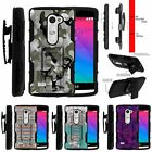 For LG Power | Destiny | Risio Rugged Holster Clip Stand Case Swamp Camouflage