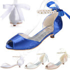 2016 Elegant Peep Toe Pearl Ankle Strap Ribbon Low Heels Evening Wedding Shoes