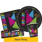 NEON PARTY Tableware Range (Birthday/Plates/Napkins/Banner/Decorations)