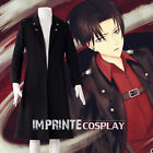 Attack on Titan Levi Black Long Jacket Cloak Cosplay Costume FREE P&P