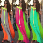 New Women's Ladies Boho Summer Beach Evening Party Long Maxi Chiffon Neon Dress