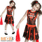 Zombie Cheerleader Girls Fancy Dress Kids Childrens Childs Halloween Costume New