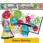 BREEZY Birthday Party Tableware & Decorations (Birthday/Plates/Napkins/Balloon)