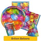 BRILLIANT BALLOONS Party Tableware & Decorations (Plates/Napkins/Balloon/Hats)