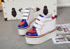 Fashion Women's Lace Up Platform Wedge Creepers Rainbow Cute Casual Shoes Q17