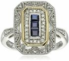 Sterling Silver and 14k Yellow Gold Blue Sapphire and Diamond Accent Art Deco