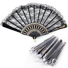 Black White Spanish Victorian Gothic Lace Hand Fan Fancy Dress Accessory