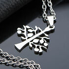 AgentX Stainless Steel Mens Women Unisex Tree Pendant Necklace Chain 4 Types