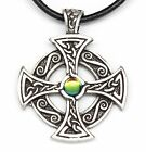 PEWTER Celtic Sun SOLAR CROSS Druid Irish Celt RAINBOW Crystal Pendant Necklace
