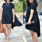 Plus Size Summer Women Casual Loose Short Sleeve Chiffon Blouse Tops Shirt Dress