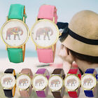 Casual Women Watch Elephant Printing Pattern Weaved Leather Dial Quartz Watches