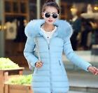 Winter Womens Parka Long Fur Collar Hooded Coat Padded Warm Casual Outwear US2XL
