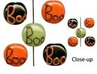 8 Beads OR 1 Std Orange Black Green  Lampwork Glass Halloween BOO Coin Beads Mix