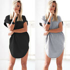 Women Stylish Casual Mini Dress Hooded Short Sleeve Blouse Shirt T Shirt Tops UK