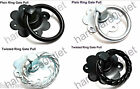 RING PULL ONLY Garden Gate Door Twisted or Plain Black or Zinc Plated + Screws