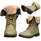 Girls Ankle Boots Kids Toddler Youth Fold Over Cuffed Lace Up Taupe Size 9-4