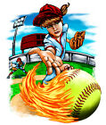 Softball Girl Cartoon Redhead Design T-Shirt, bb30056