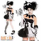 Tricksterina Jester Ladies Fancy Dress Halloween Party Womens Adult Costume New