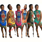 Womens Traditional African Printed Dashiki Bodycon Dress Sexy Sleeveless Dress