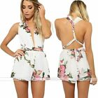 Chiffon Playsuit Rompers Jumpsuit  Backless Deep V Floral Print Fashion Sexy